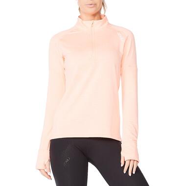 T-Shirt 2XU IGNITION Femme Manches Longues Zip 1/4 Rose 2021